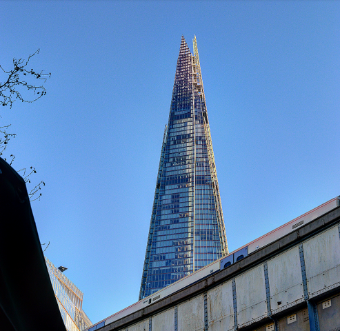 The view of the Shard from the market.